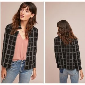 ANTHROPOLOGIE Windowpane Knit Blazer Jacket {S29}